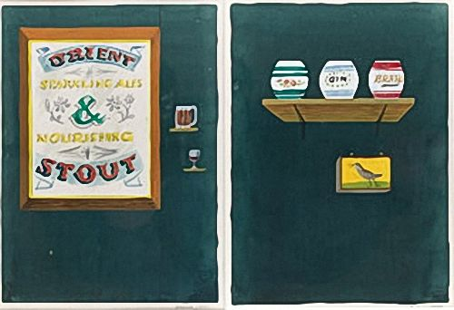Artist Barbara Jones: Shelf and Mirror: sketch for m