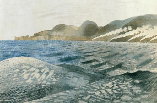 Artist Eric Ravilious: Study for 'Leaving Scapa Flow' (recto); 'The Firth of Forth' (verso), circa 1940–41