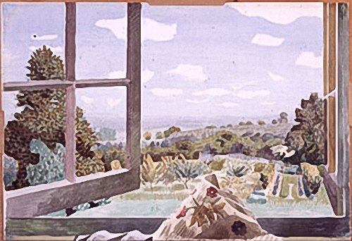 Kenneth-Rowntree: View-through-open-window,-1944