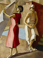 Artist Rachel Reckitt: Two Women in a backyard, one hanging linen, the other leaning against a wall; 1956